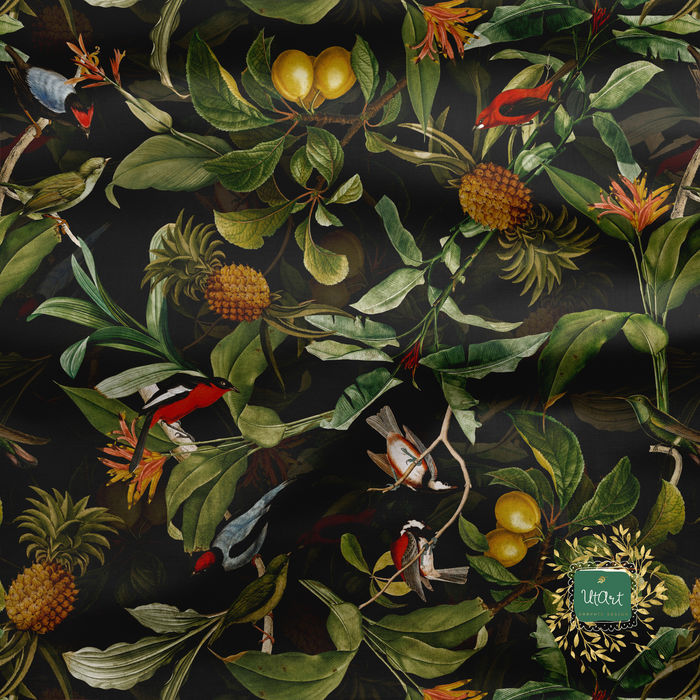 Vintage Birds Pineapples and Leaves Jungle Pattern