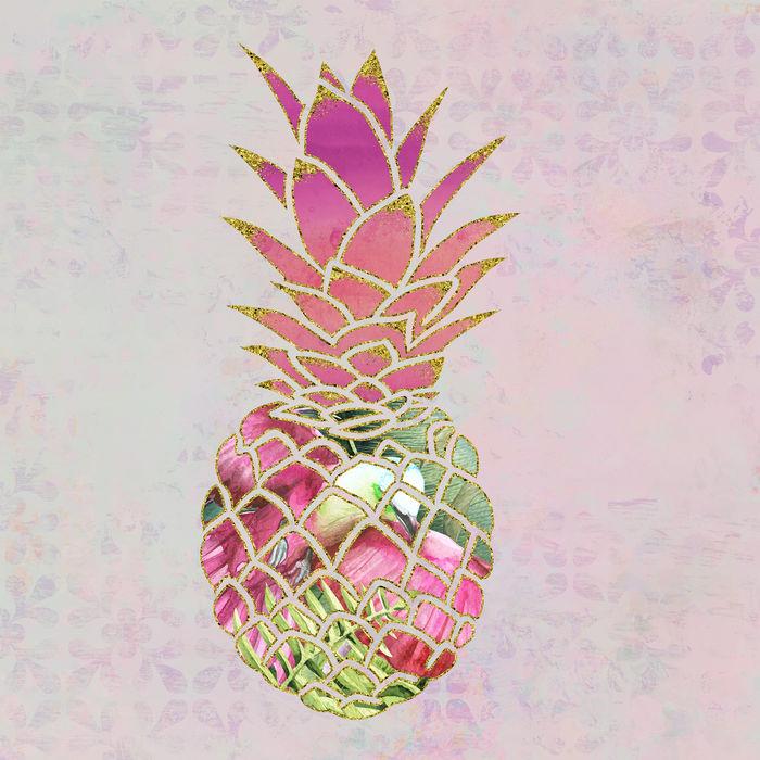 Tropical Pineapple Mixed Media Art