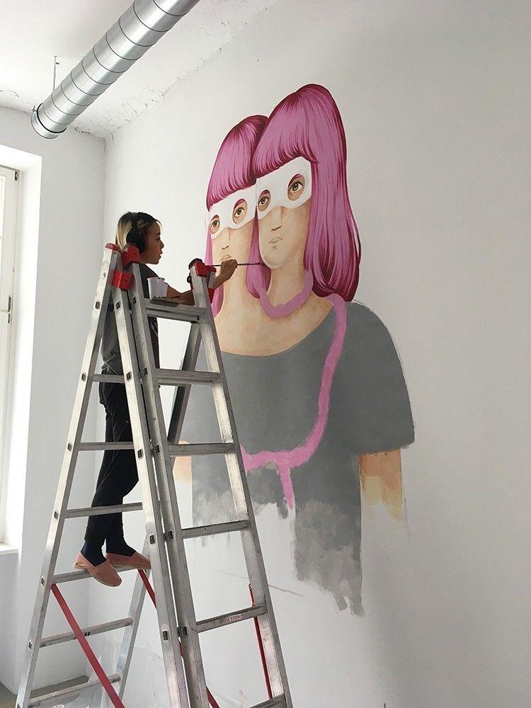 "COSMOPOLA |  Illustration Artist Andrea Wan - ""Mindspace Mural, Berlin"
