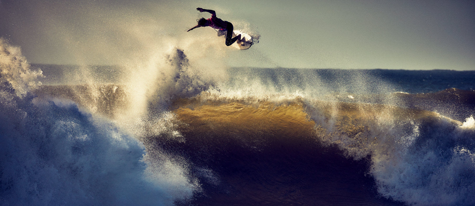 Dominik Mentzos shooting the World Surf League in Portugal, 2017