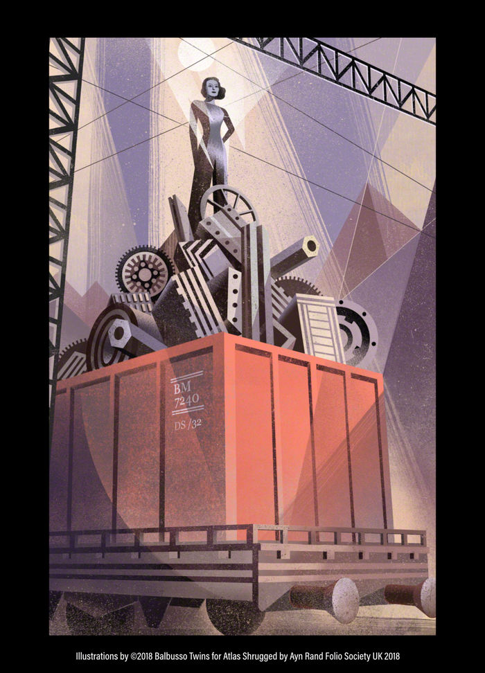 BALBUSSO TWINS Ayn Rand's Atlas Shrugged published by Folio Society 2018 - illustrated 3-volume set