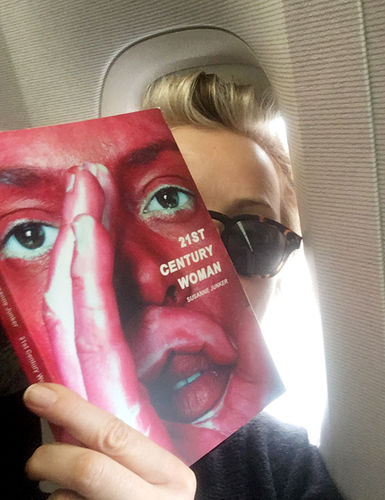 3.self-portrait in the plane with my new book, 21st century woman