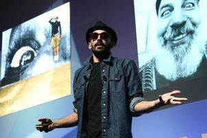 "CANNES LIONS 2012 : Street artist JR presenting the seminar ""Ads and Art: Sharing the Streets."""