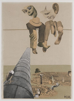 DIE ANDERE SEITE DES MONDES : Hannah Höch, Von oben, 1926-27, Collage und Fotomontage auf Papier und Karton, 30,5 x 22,2 cm, Des Moines Art Center's Louise Noun Collection of Art by Women through Bequest, © VG Bild-Kunst, Bonn 2011