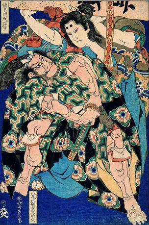 Kusunoki Tamonmaru Masashige und Yao no Bettô Tsunehisa © Katsushika Hokusai Museum of Art
