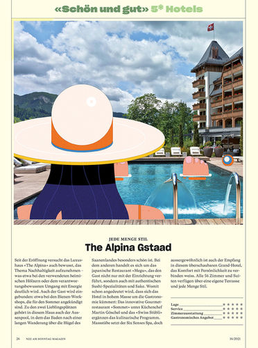 Leandro ALZATE c/o 2AGENTEN for NZZ AM SONNTAG / EDITORIAL, HOTEL RATINGS