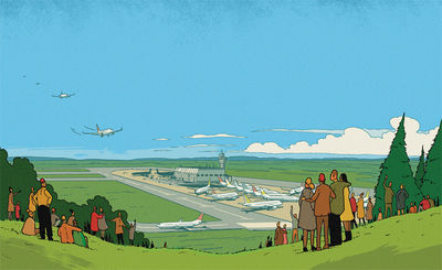 'The Day the World Came to Town' - R Fresson's illustration for Reader's Digest