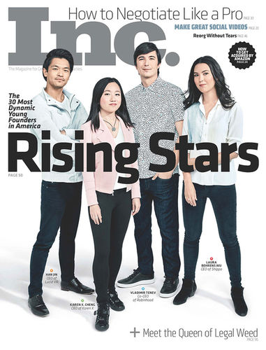 Emily Shur c/oGIANT ARTISTS photographed this year's top young founders for the cover of Inc. Magazine