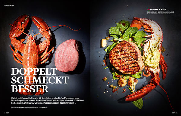 Klaus Arras photographs the food spread 'Surf & Turf ? Double Tastes Better' for BEEF! magazine on the topic of how men cook differently