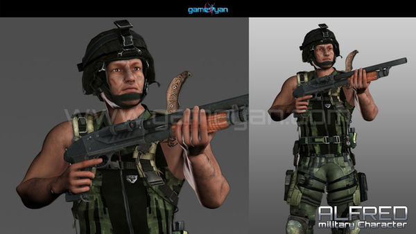 3D Military Mascot Character Animation-GameYan